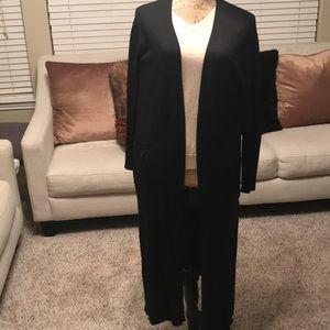 Long Black Cardigan w/pockets Size Small